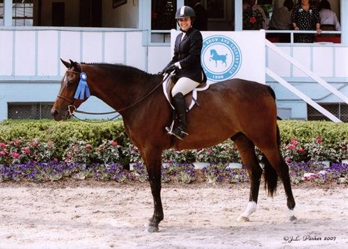 Laura Wasserman and Quality Time Overall Winner Amateur Owner Hunter Under Saddle 2007 Devon Horse Show Photo JL Parker