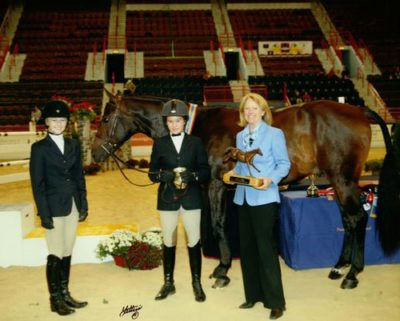 Co-riders Lucy Davis and Katie Dinan owner Katie Dinan Grand Champion Small Junior Hunter 2008 Pennsylvania National Photo Anne K Gittens