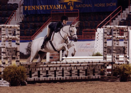 Skylar Nelson and Macy Grey Medium Pony Hunters 2009 Pennsylvania National Photo Al Cook