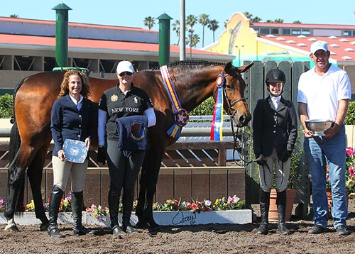 Hunter Siebel and Cafe de Colombia with Archie Cox Caerrie Robinson and Stacey Siebel Champion Large Junior Hunter 15 & Under 2014 Del Mar National Photo Osteen