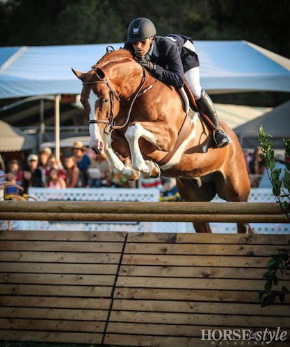 Nick Haness and Banderas owned by Ecole Lathrop Winner $10,000 USHJA Hunter Derby 2014 Menlo Charity Horse Show Photo Erin Gilmore for Horse and Style Magazine