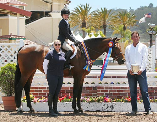 Hunter Siebel and Cafe de Columbia with Archie Cox and Caerrie Robinson Champion Large Junior Hunter 15 & Under 2014 Del Mar National Photo Osteen