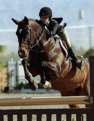 Skylar Nelson and Madison owned by Old Oak Farm Large Junior Hunters 2008 HITS Desert Circuit Photo Flying Horse
