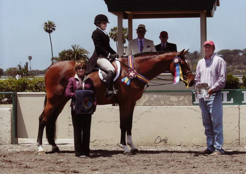 Laura Wasserman and Back in the Game Champion Amateur Owner 36 & Over 2012 Del Mar National Photo Osteen