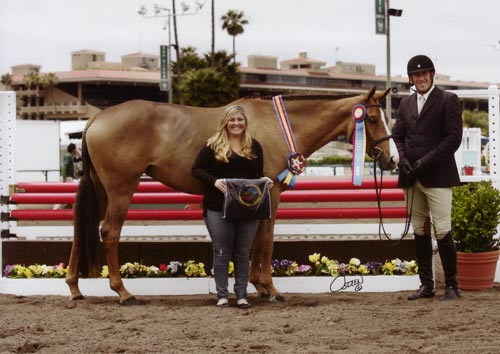 "Archie Cox and Adele owned by Woodvale Inc Champion 3'3"" Pregreen Hunter 2012 Del Mar National Photo Osteen"