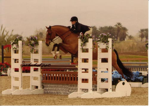 Ashley Pryde and Manhattan owned by Garland Farm Large Junior Hunters 2010 HITS Desert Circuit Photo Flying Horse