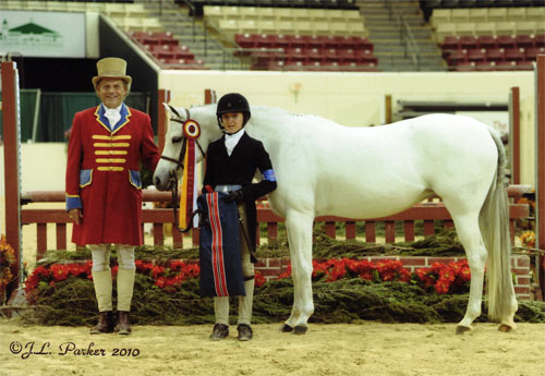 Meredith Darst and Macy Grey owned by Wild Sky Farm Reserve Champion Medium Pony Hunters 2010 Capital Challenge Photo JL Parker
