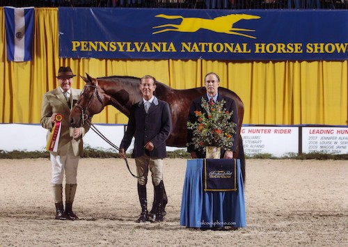 "Laura Wasserman's Boss ridden by John French Reserve Champion 3'3"" Pregreen Hunter 2014 Pennsylvania National Photo Al Cook"