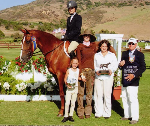 Galatea owned by Stephanie Danhakl Champion Small Junior 16-17 2005 Junior Hunter Finals Photo JumpShot