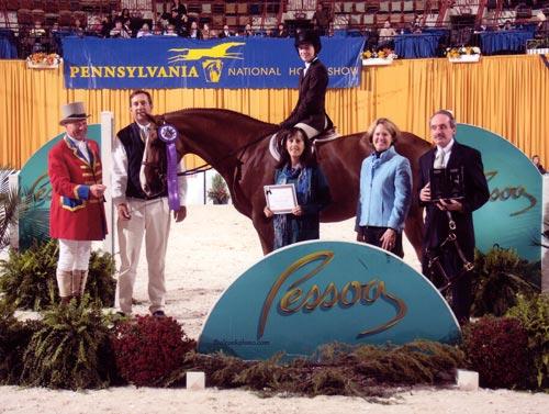 Cayla Richards and Presidio 7th Place USEF Hunter Seat Medal 2010 Pennsylvania National Photo Al Cook