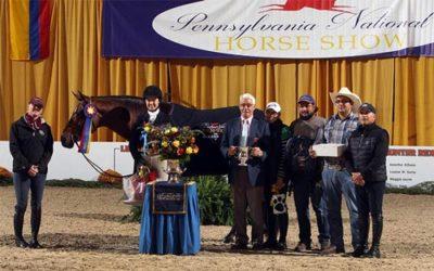 Katherine Dash and Laura Wasserman's Boss Champion Small Junior Hunter 16-17 2016 Pennsylvania National Photo Al Cook