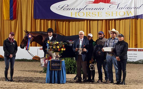 Katherine Dash and Laura Wasserman's Boss Champion Small Junior Hunter 16-17 2016 Pennsylvania National Photo Al Cook
