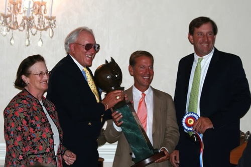 Archie Cox and John French accept the 2009 Trainers Choice Award for First Year Green Working Hunter on behalf of Pringle and the Pryde family at the National Show Hunter Hall of Fame Photo Lauren Fisher Phelps Media Group