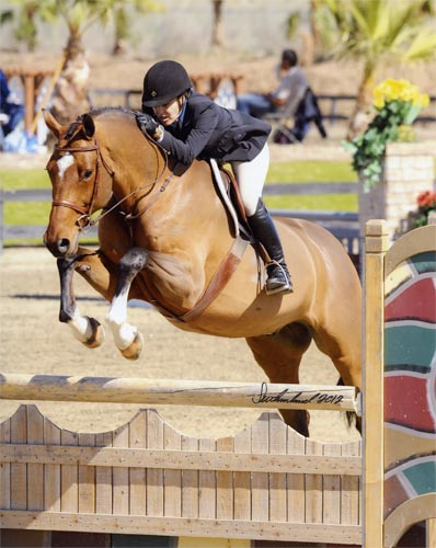 Laura Wasserman and Back in the Game Amateur Owner Hunter 36 & Over 2012 HITS Desert Circuit Photo Flying Horse