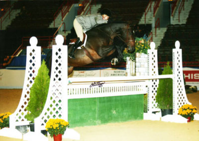 Leslie Steele and Smitten owned by Stephanie Danhakl 2nd Year Green Hunter 2008 Pennsylvania National Horse Show Photo Anne K Gittens
