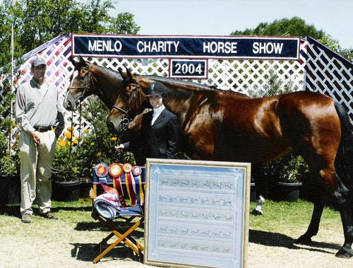 Devon Barrett with Matheus and Baron 21 Champion and Reserve 2004 Menlo Charity Junior Jumper Photo JumpShot