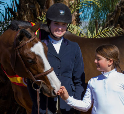 Katherine Dash and Stella Wasserman with Fine Design Reserve Champion Junior Hunter_2015 National Sunshine Series