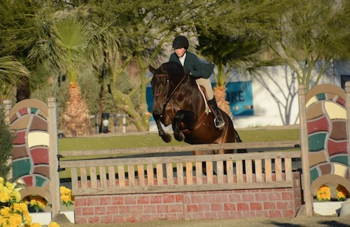 Brooke Sassa and Catwoman Large Junior Hunter 15 & Under 2014 HITS Desert Circuit Photo Flying Horse