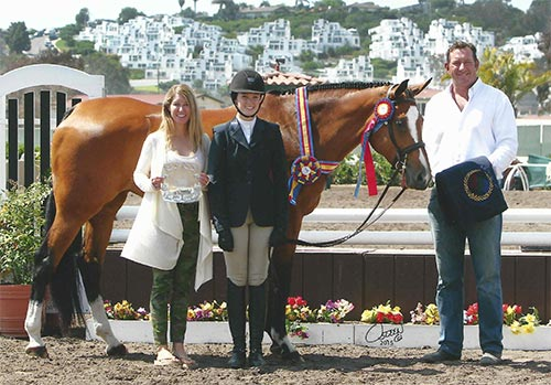 "Katherine Dash and Pirouette owned by Shawna Dash Champion Junior Hunter 3'3"" 2015 Del Mar National Photo Osteen"