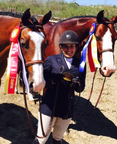 Laura Wasserman with Safari and Fine Design Champion and Reserve Champion A/O Hunter 2015 Blenheim Fall Tournament