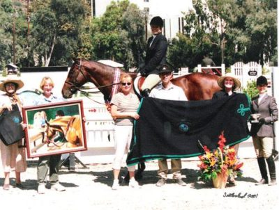 Karin Binz and Galaway Champion Adult Medal Finals 2001 Pacific Coast Horse Show Association Portuguese Bend National Photo Osteen