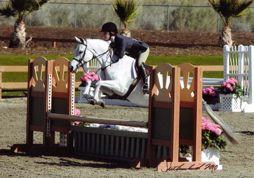 Skylar Nelson and Macy Grey owned by Wild Sky Farm Circuit Champion Medium Pony Hunter 2010 HITS Desert Circuit Photo Flying Horse