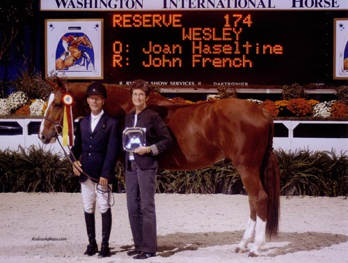 John French and Wesley owned by Joan Hasteltine Reserve Champion Regular Working Hunters 2007 Washington International Photo Al Cook