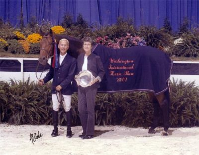 John French and Scout owned by Stephanie Danhakl Grand Champion Green Hunters Champion 1st Year Green Hunters 2007 Washington International Photo Al Cook