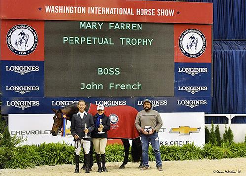 John French and Laura Wassermans Boss Champion Regular Conformation Hunter 2016-2017 Washington International Photo McMillen