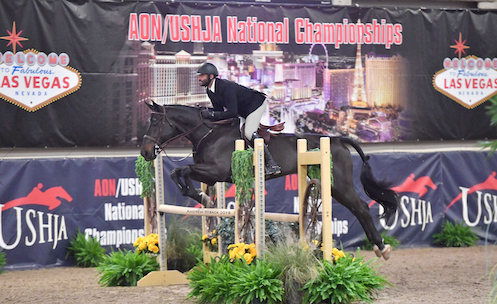 """Jorge Hidalgo and Charlie Boy 2018 Las Vegas National Amateur Owner Hunter 3'6"""" Photo by Andrew Ryback"""