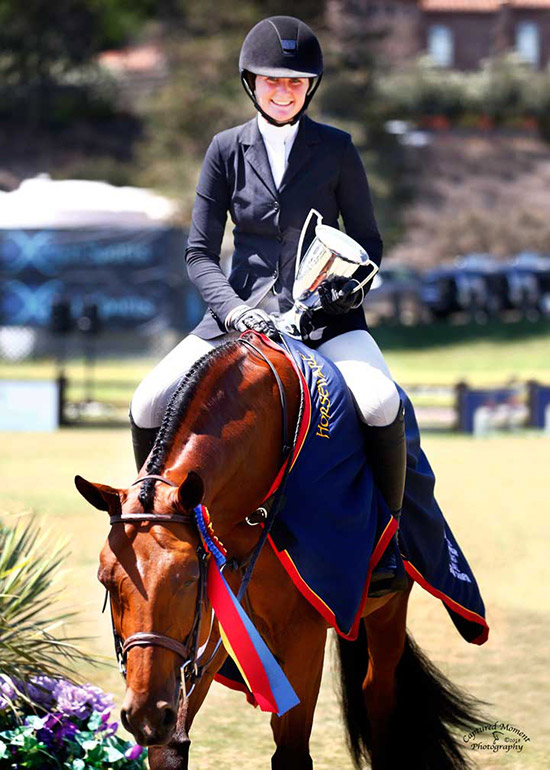 "Ava Stearns and Laura Wasserman's Bocelli 2018 Jr. Hunter Finals National Championship-West Grand Champion 3'6"" Photo by Captured Moment"