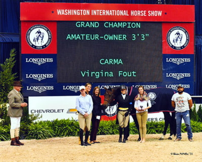 "Virginia Fout and Carma Amateur Owner Hunter 3'3"" Champion 2016 Washington International Photo by Shawn McMillen"