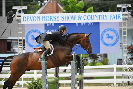 "Virginia Fout and Carma 2018 Devon Horse Show Amateur Owner Hunter 3'3"" Over 35, Champion Photo by The Book LLC"
