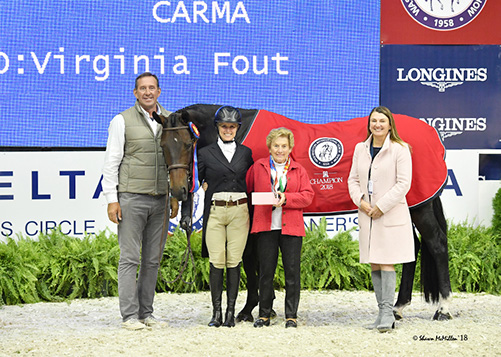 "Virginia Fout and Carma 2016 Washington International Amateur Owner Hunter 3'3"" Over Champion Photo by Shawn McMillen"