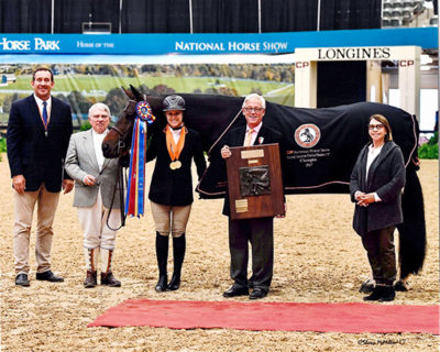 "Virginia Fout and Carma 2017 National Horse Show Amateur Owner Hunter 3'3"" 36 & Over, Champion Photo by McMillen"