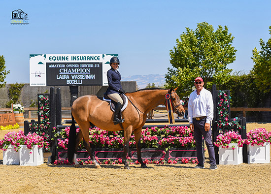 "Laura Wasserman and Bocelli Amateur Owner Hunter 3'3"" Champion 2019 Giant Steps Charity Classic Photo by Grand Pix Photography"