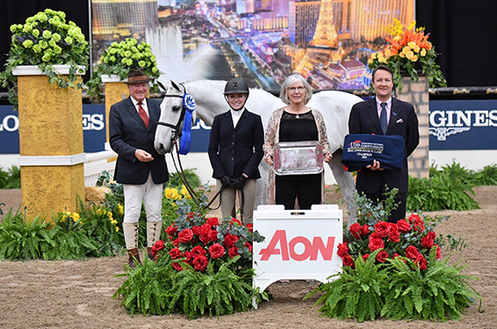 Emily Williams and Beach Boy Small Junior Hunter 16-17 Champion AON/USHJA National Championship 2019 Las Vegas National Horse Show