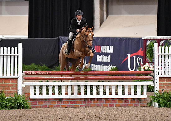 Trent Mcgee and Boucherom Small Junior Hunter 16-17 2019 Las Vegas National Horse Show Photo by Andrew Ryback