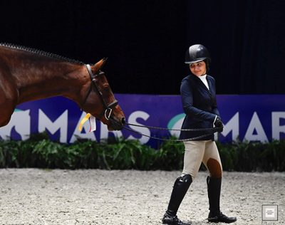 Violet Lindemann Barnett and Luscious Small Junior Hunter 16-17, Reserve Champion 2019 Washington International Horse Show Photo by Alden Corrigan Media