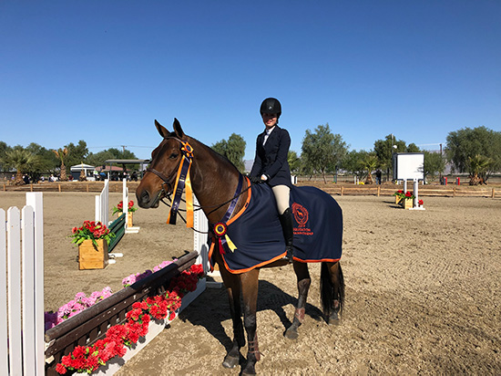 Vivienne Wood and Way Out West USHJA Equitation 11 & Under Champion 2019 National Sunshine Series