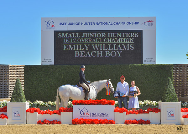 Emily Williams and Beach Boy Small Junior Hunters 16-17 Overall Champion 2019 USEF Junior Hunter National Championship Photo by Grand Pix