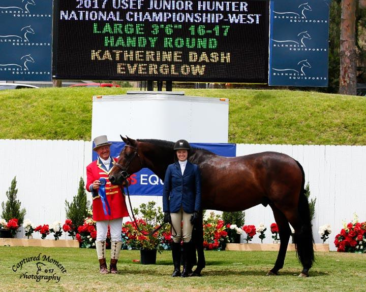 "Katherine Dash and Everglow 2017 USEF Junior Hunter National Championship National USEF Grand Champion Junior Hunter 16-17 Large 3'6"" 16-17 Handy Round Photo by Captured Moment"