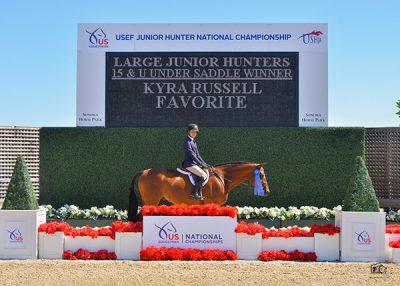 Kyra Russell and Favorite Large Junior Hunters 15 & U Under Saddle Winner 2019 USEF Junior Hunter National Championship Photo by Grand Pix