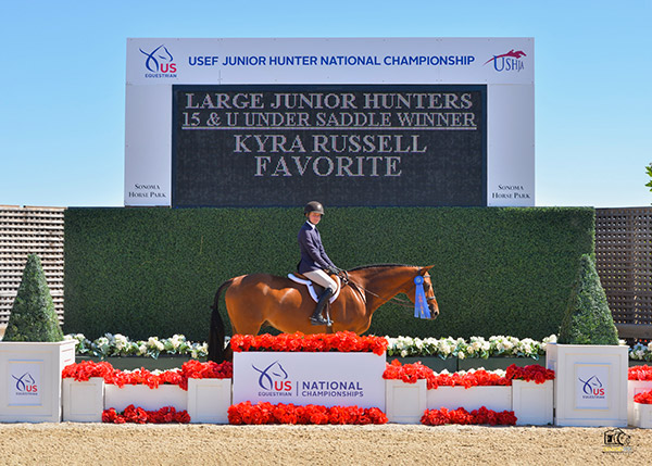 Kyra Russell and Favorite Large Junior Hunters 15 & U Under Saddle Winner 2019 USEF Junior Hunter National Championship Photo by Grand Pix
