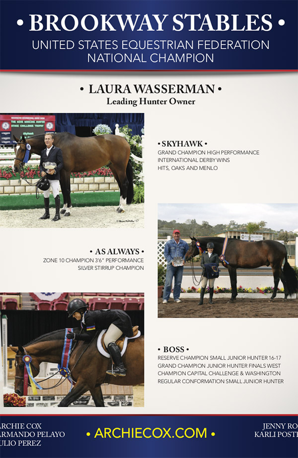 Laura Wasserman 2017 USEF National Champion, Leading Hunter Owner Ad