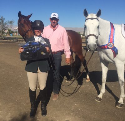 Meredith Mateo and Archie Cox with Vanessa and Second to None 2019 HITS Desert Circuit