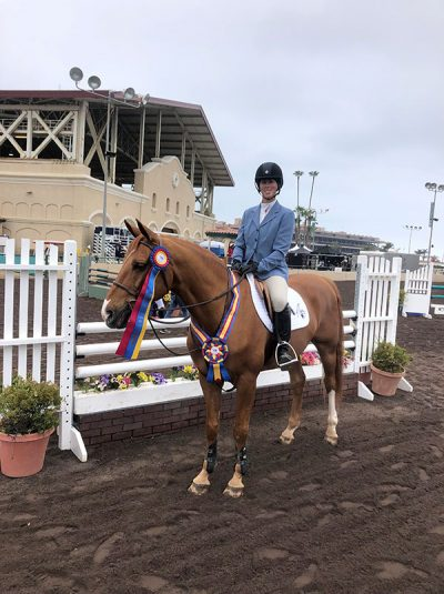 Meredith Mateo and Need I Say 2019 Del Mar National Champion Low Adult Jumper