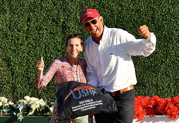 Sloan Lindemann Barnett and Archie Cox Celebrating Violet Lindemann Barnett winning USHJA Hunterdon Cup Equitation Classic Champion at the 2019 USEF Junior Hunter National Championship Photo by Alden Corrigan Media