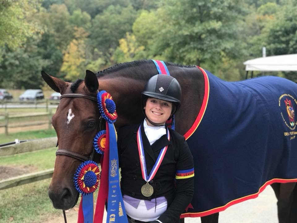 "Stella Wasserman and Boss Champion Small Junior Hunter 3'3"" Champion Junior Hunter Challenge 3'3"" National Working Hunter Rider Champion 2017 Capital Challenge Photo by McMillen"