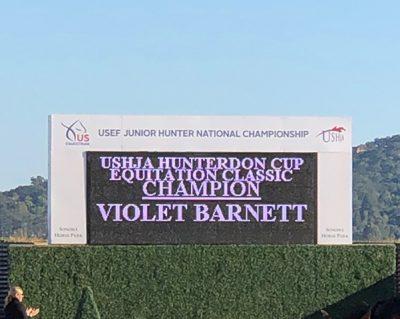 Violet Lindemann Barnett USHJA Hunterdon Cup Equitation Classic Champion 2019 USEF National Junior Hunter Finals Sonoma Horse Park
